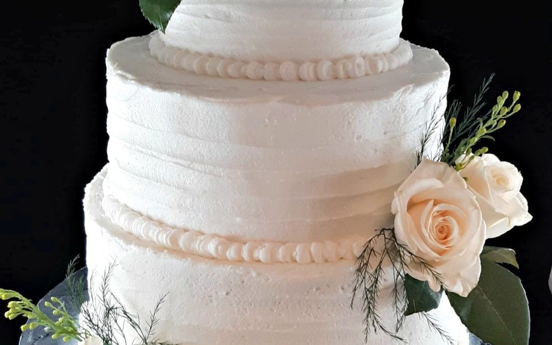White Rose Wedding Cake- Simply Elegant Wedding Cake