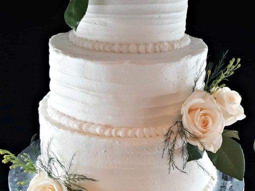 White Rose Wedding Cake- Simply Elegant Wedding Cake