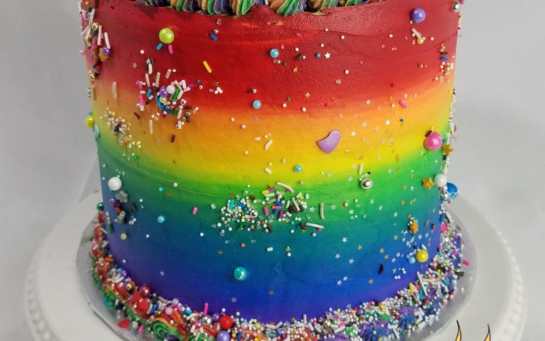 Rainbow Barrel Cake