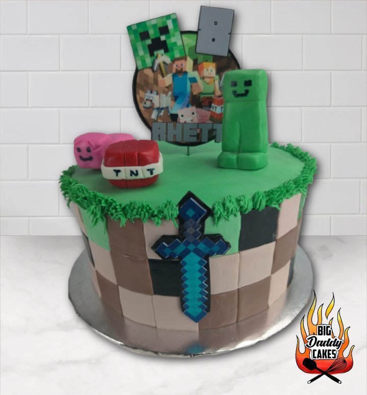 Minecraft Cake with sword and tnt